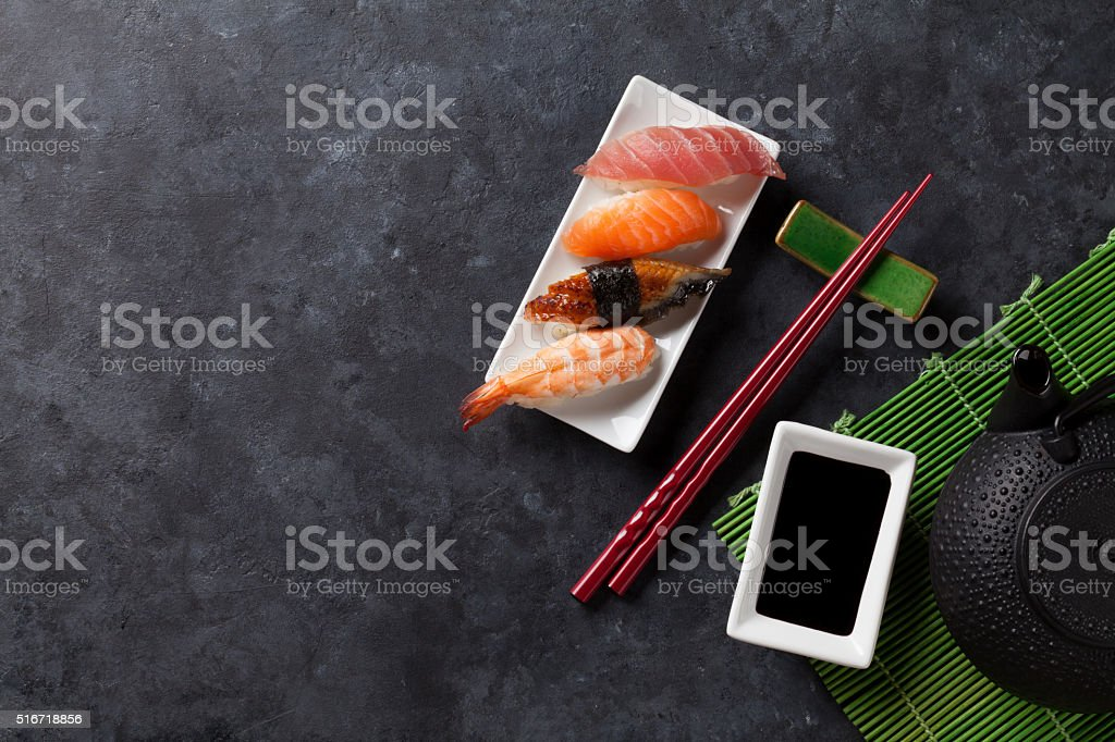 Set of sushi and green tea stock photo