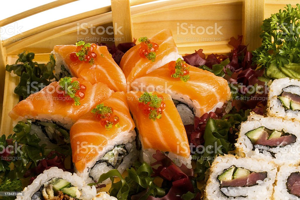 Set of sushi and rolls royalty-free stock photo