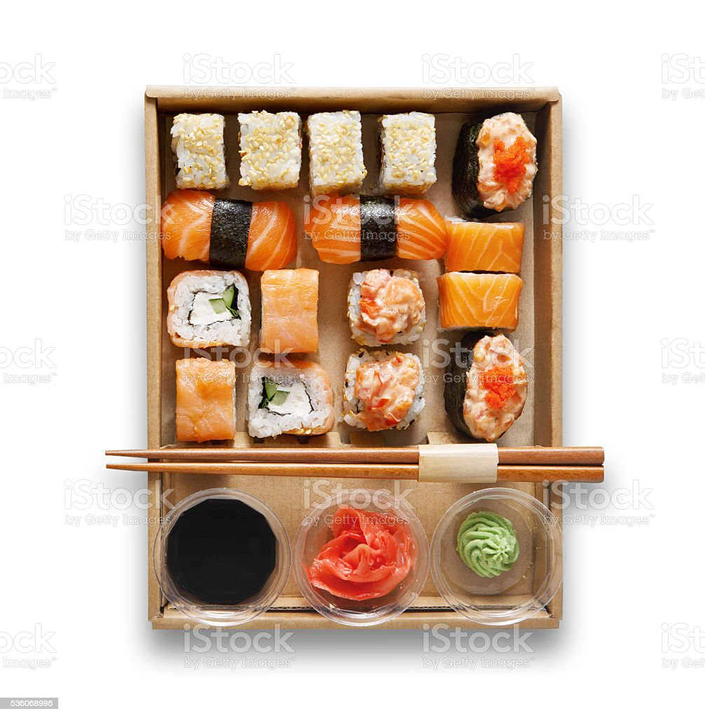 Set of sushi maki and rolls at box isolated. stock photo