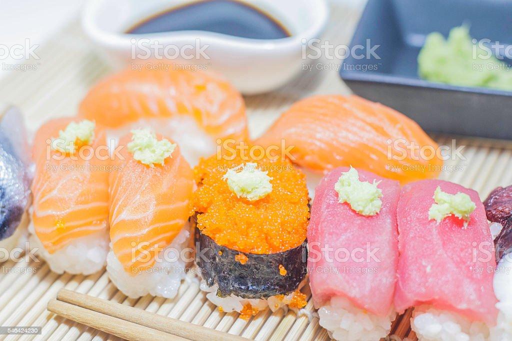 Set of sushi on bamboo plate stock photo