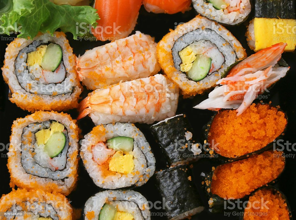 Set of Sushi sashimi and sushi rolls stock photo