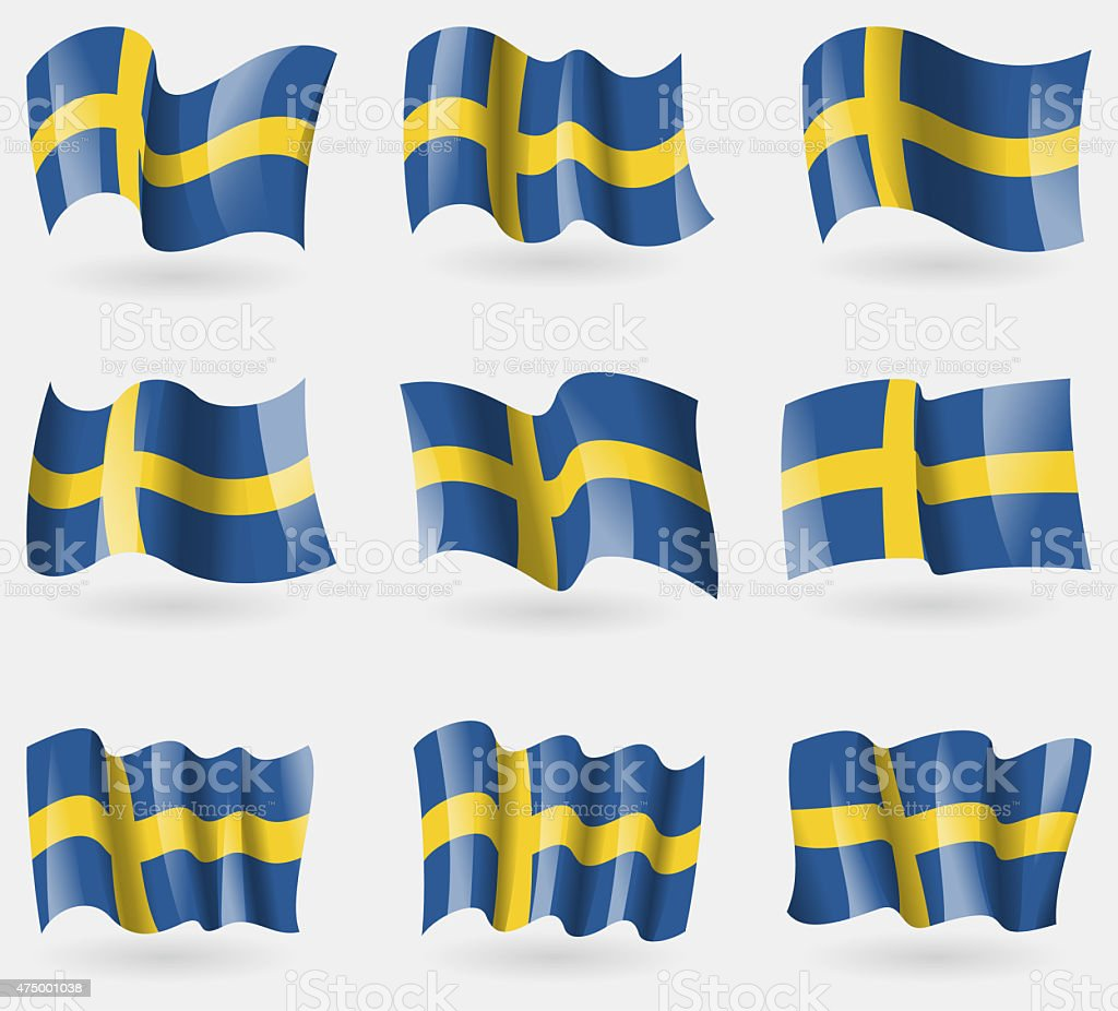 Set of Sweden flags in the air. stock photo