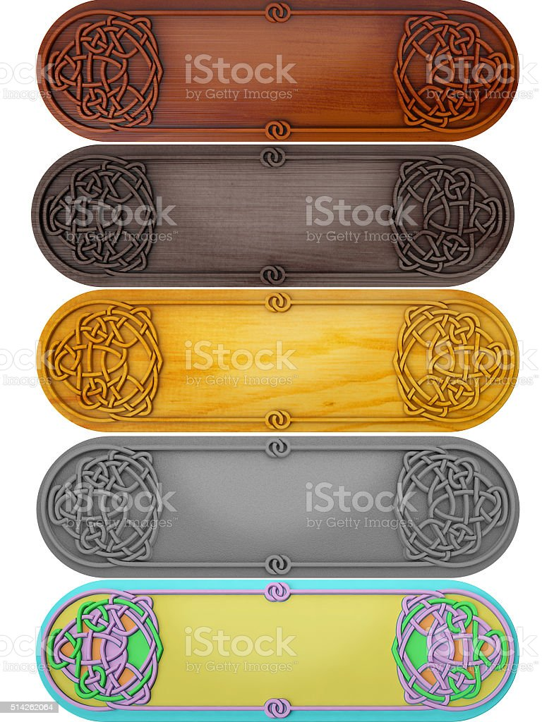 Set of tablets with celtic a pattern stock photo