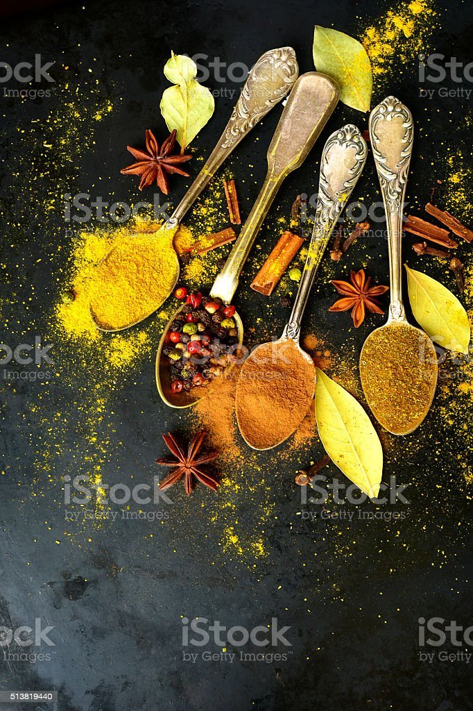 Set of  teaspoons with spices . stock photo