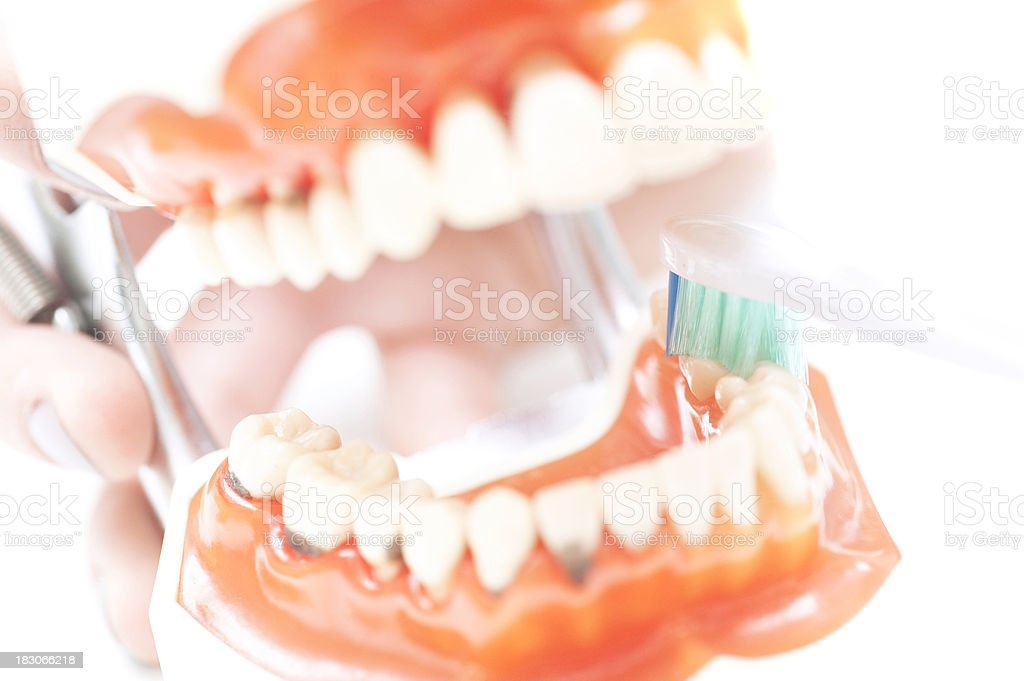 set of teeth with caries macro picture and toothbrush stock photo