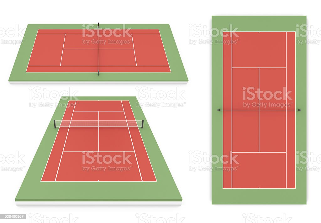 Set of tennis court different of view vector art illustration