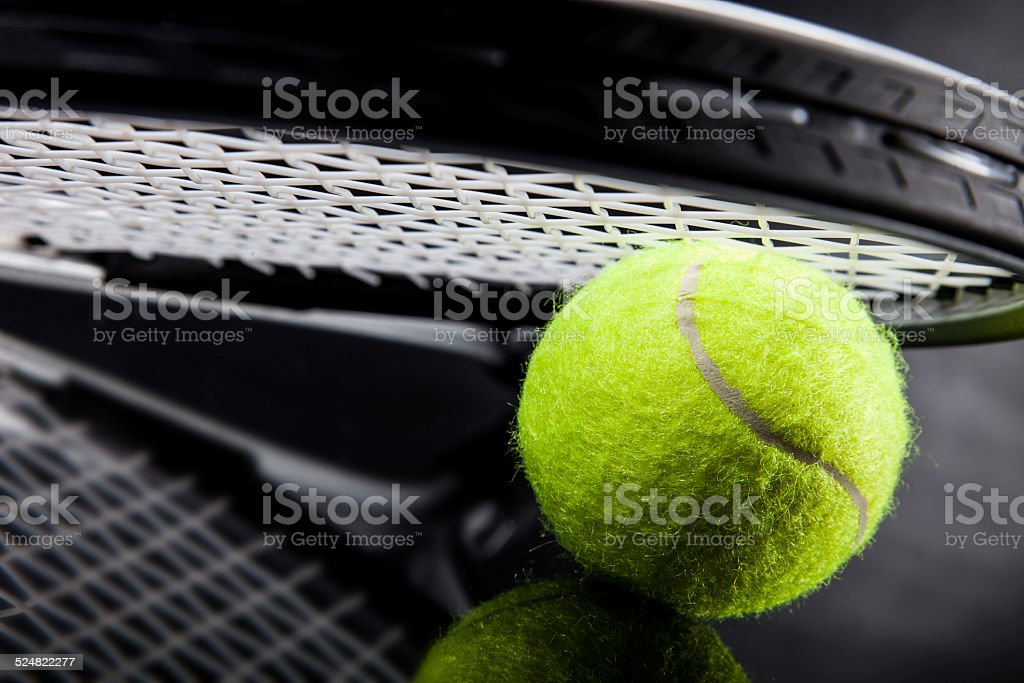 Set of tennis. Racket and ball. stock photo