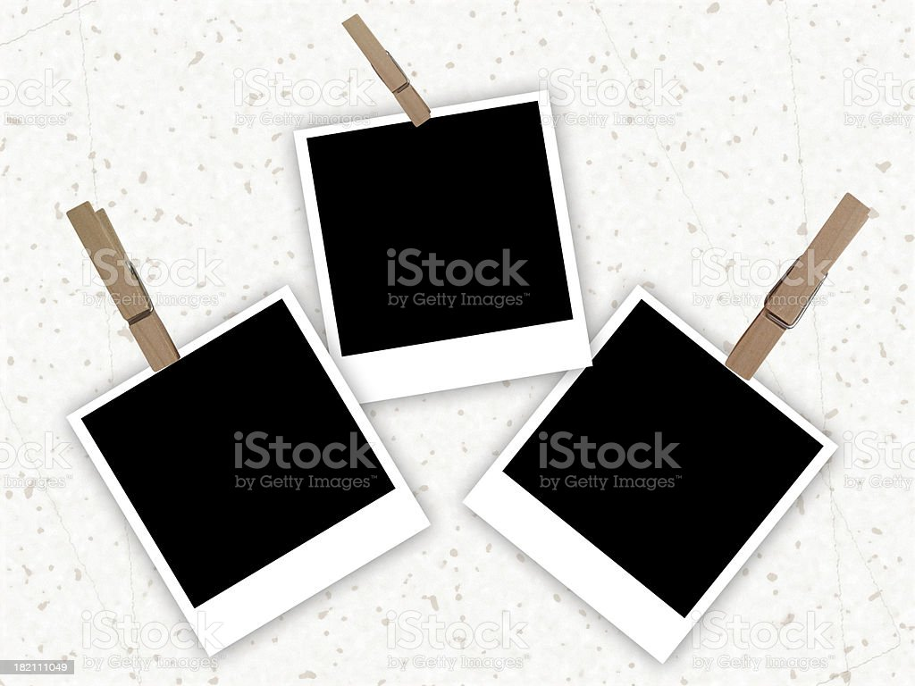 Set of the photos hanging on a white background royalty-free stock photo