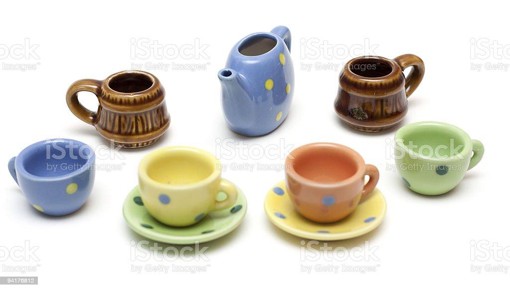 Set of the varicoloured ceramic dishes royalty-free stock photo
