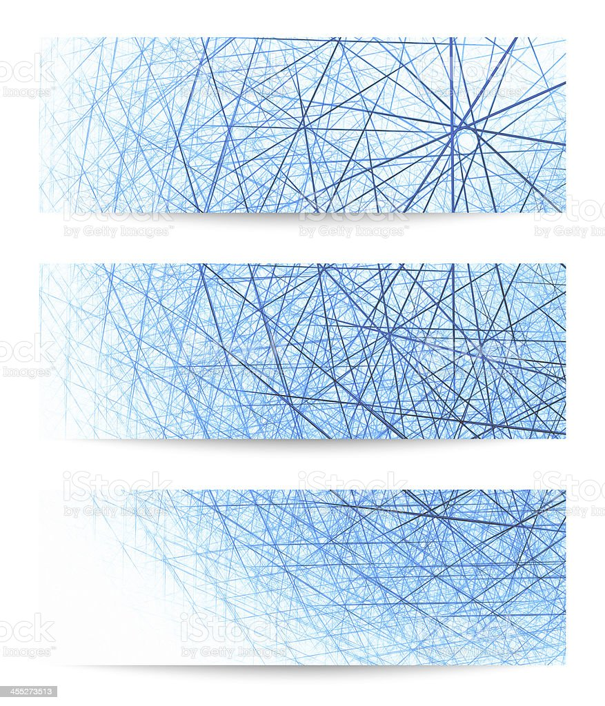 Set of three horizontal vector banners in blue and white stock photo