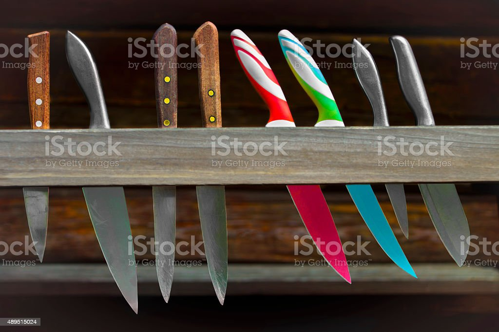 Set of three kind of knives stock photo