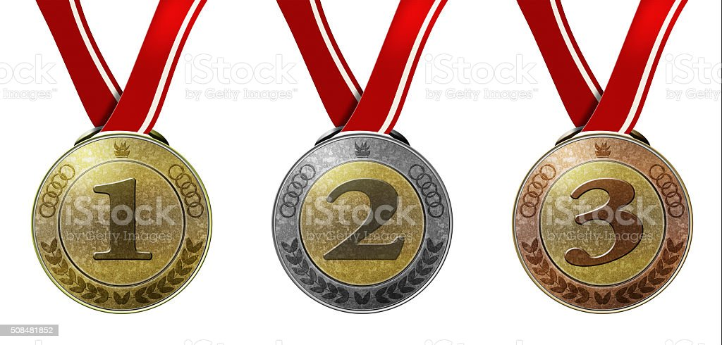 Set of three medals with numbers and ribbon stock photo