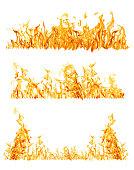 set of three orange flame strips on white