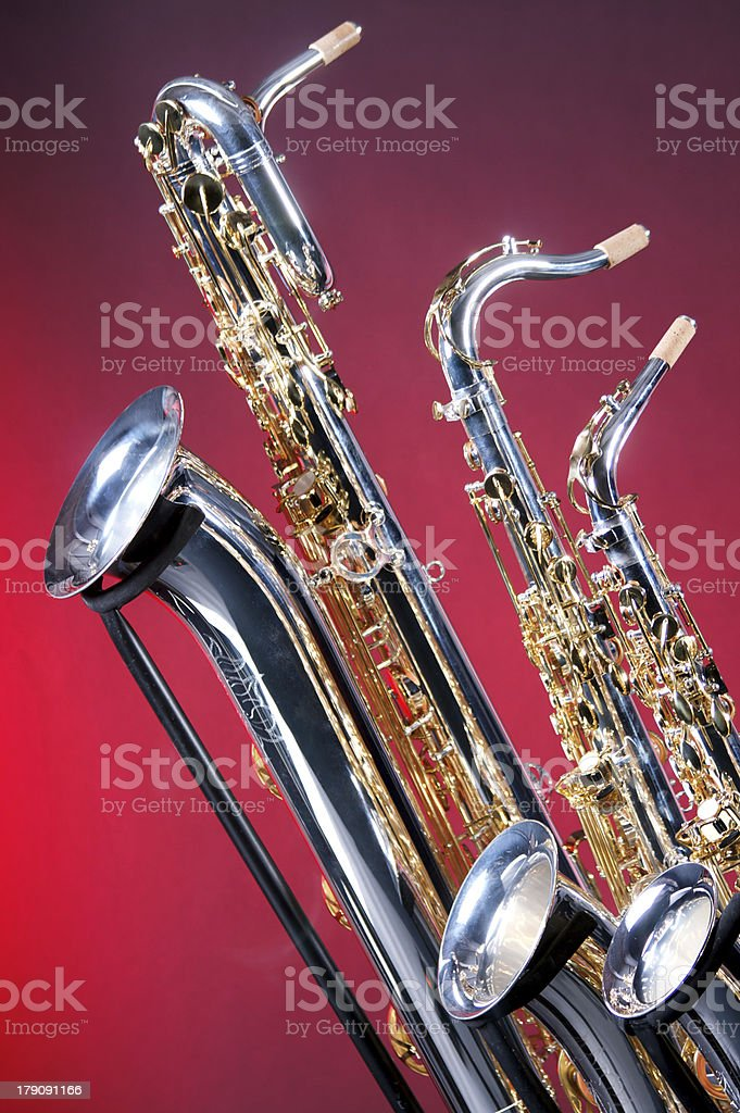 Set of Three Saxophones stock photo