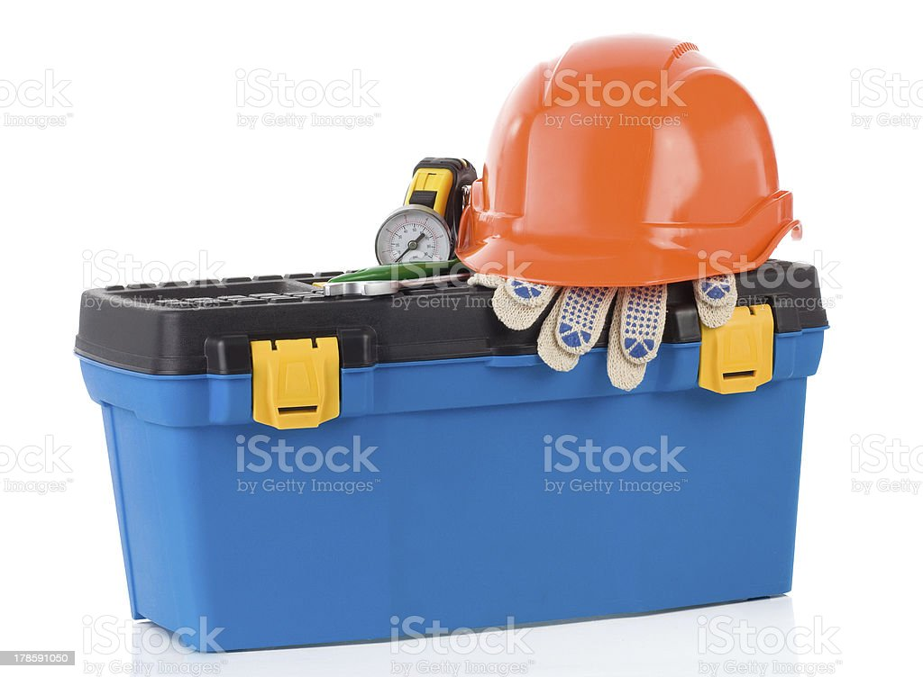 set of tools and instruments in toolbox royalty-free stock photo