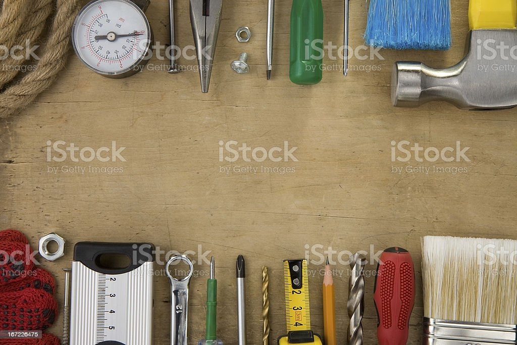 set of tools and instruments on wood texture royalty-free stock photo