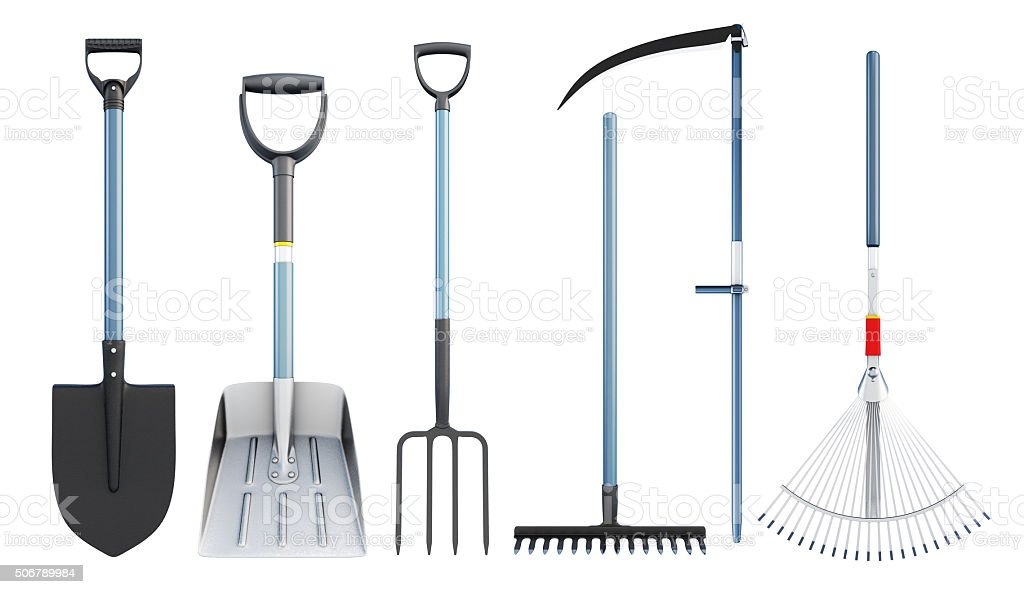 Set of tools for agriculture. 3d rendering. stock photo