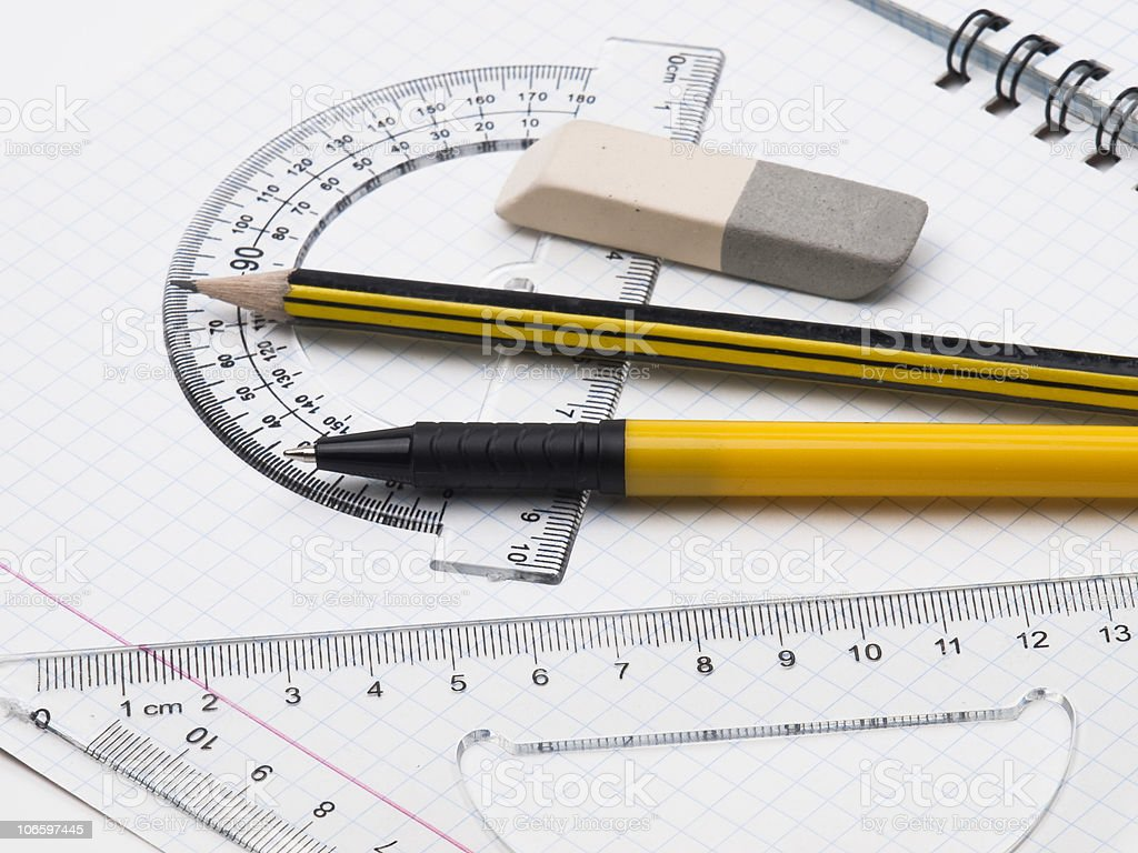 Set of tools for drawing on the workbook page royalty-free stock photo