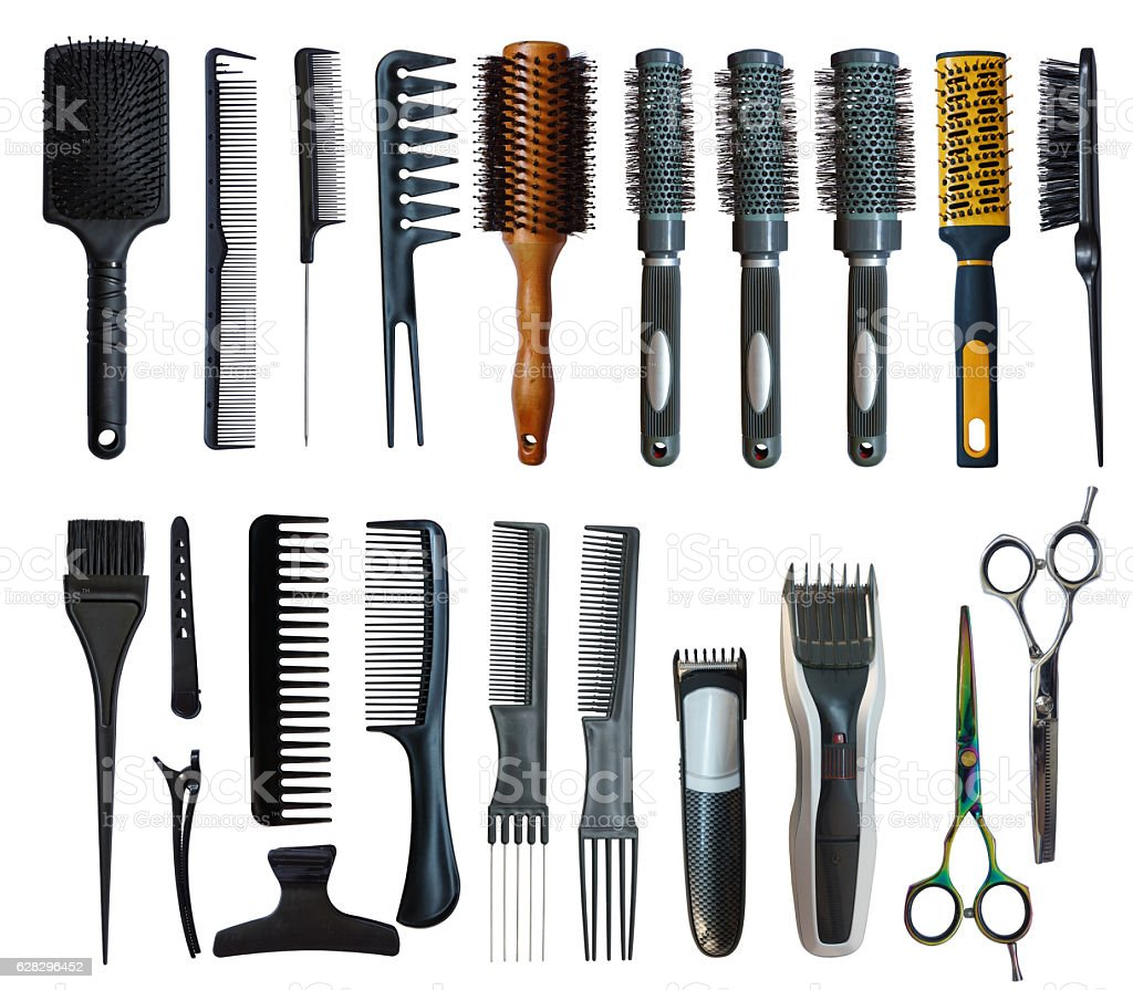 Set of tools for the hairdresser stock photo