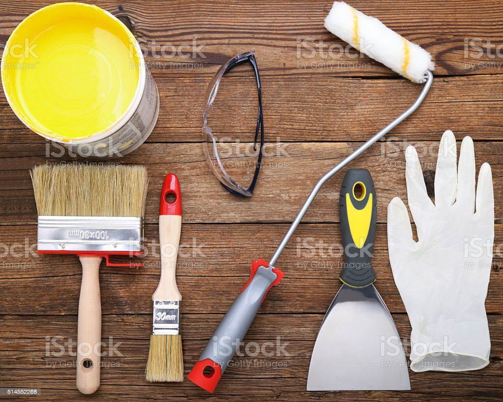 Set of tools for the painter stock photo