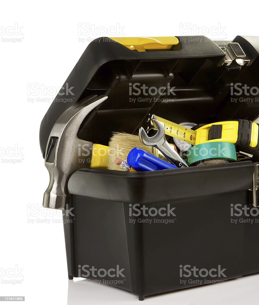 set of tools in black plastic box royalty-free stock photo