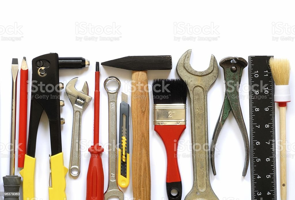 Set of tools neatly organized in a line royalty-free stock photo