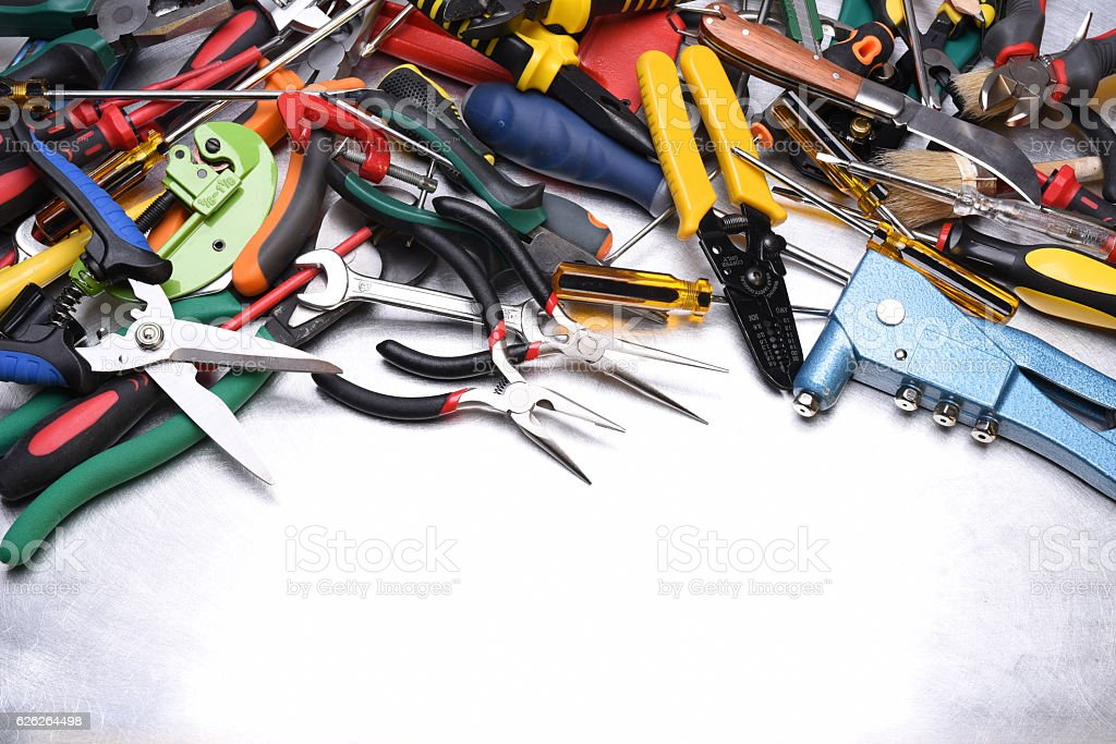 Set of tools on metal surface stock photo