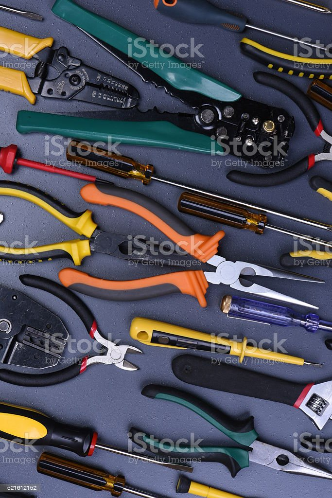 Set of tools to electrical installations stock photo