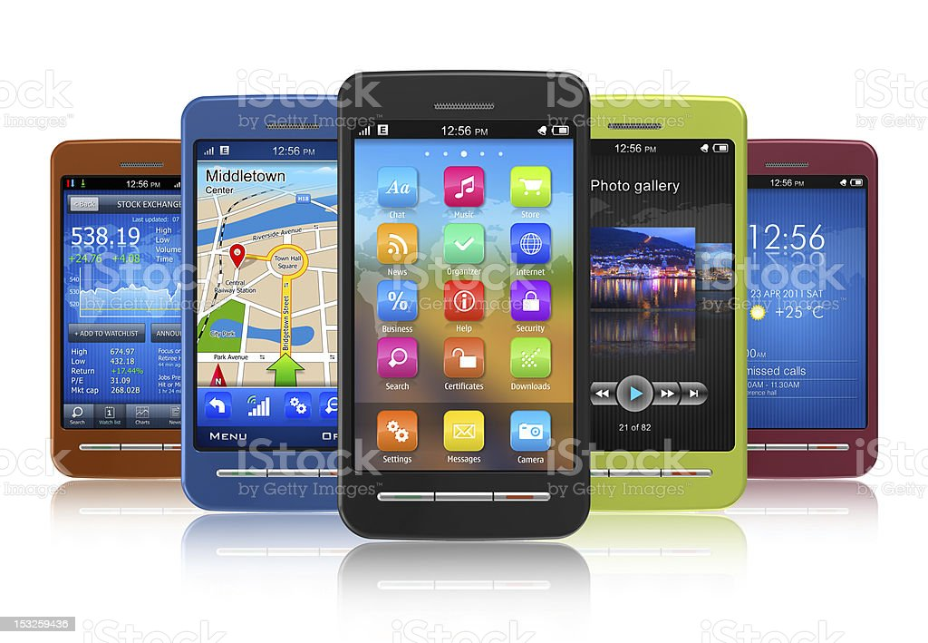 Set of touchscreen smartphones royalty-free stock photo