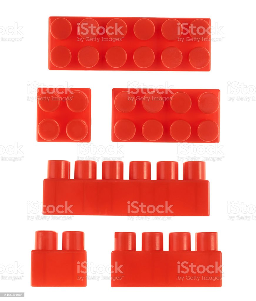Set of toy construction blocks isolated stock photo