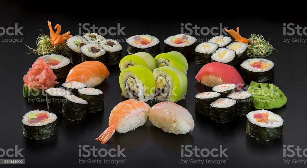Set of traditional japanese food on a dark background stock photo