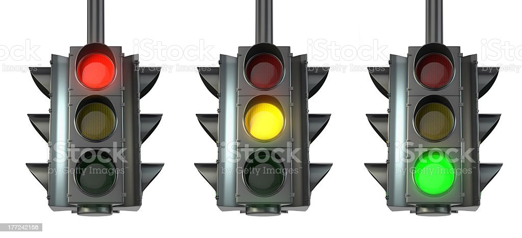 Set of traffic lights, red, green and yellow stock photo