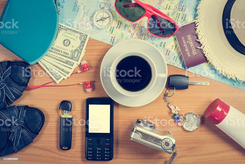Set of travel accessory background stock photo