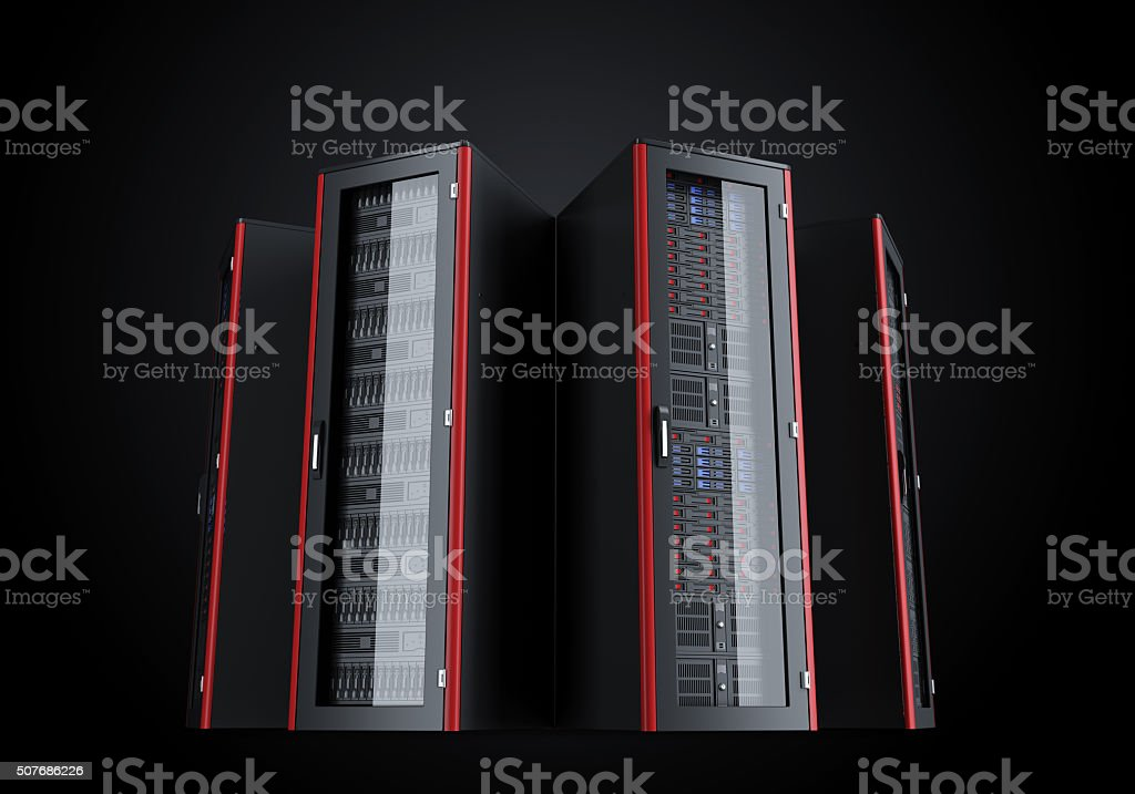 Set of turned off server racks isolated on black background stock photo