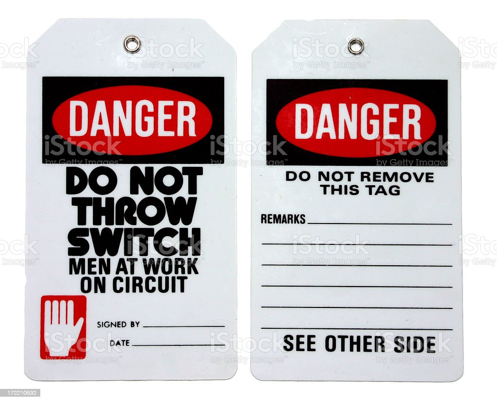Set of two danger labels in black, red and white stock photo