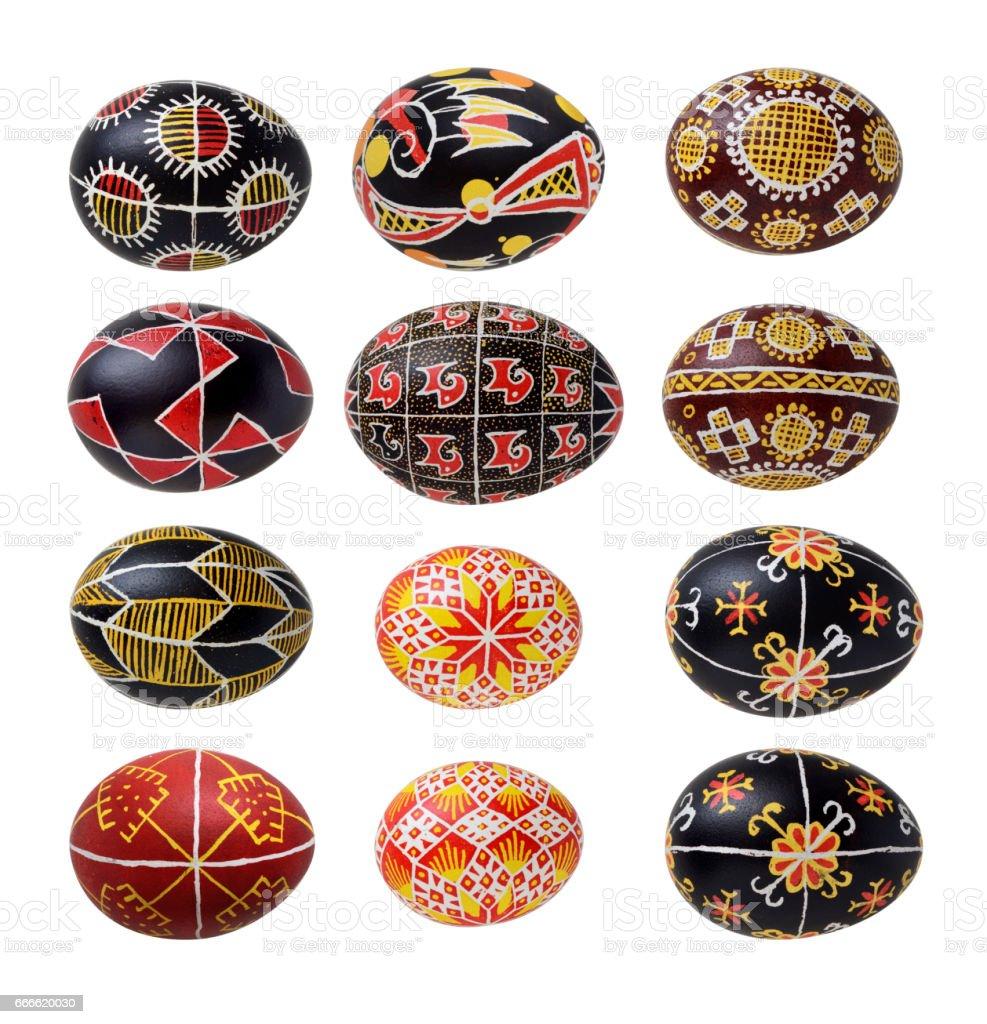 Set of Ukrainian Easter eggs stock photo