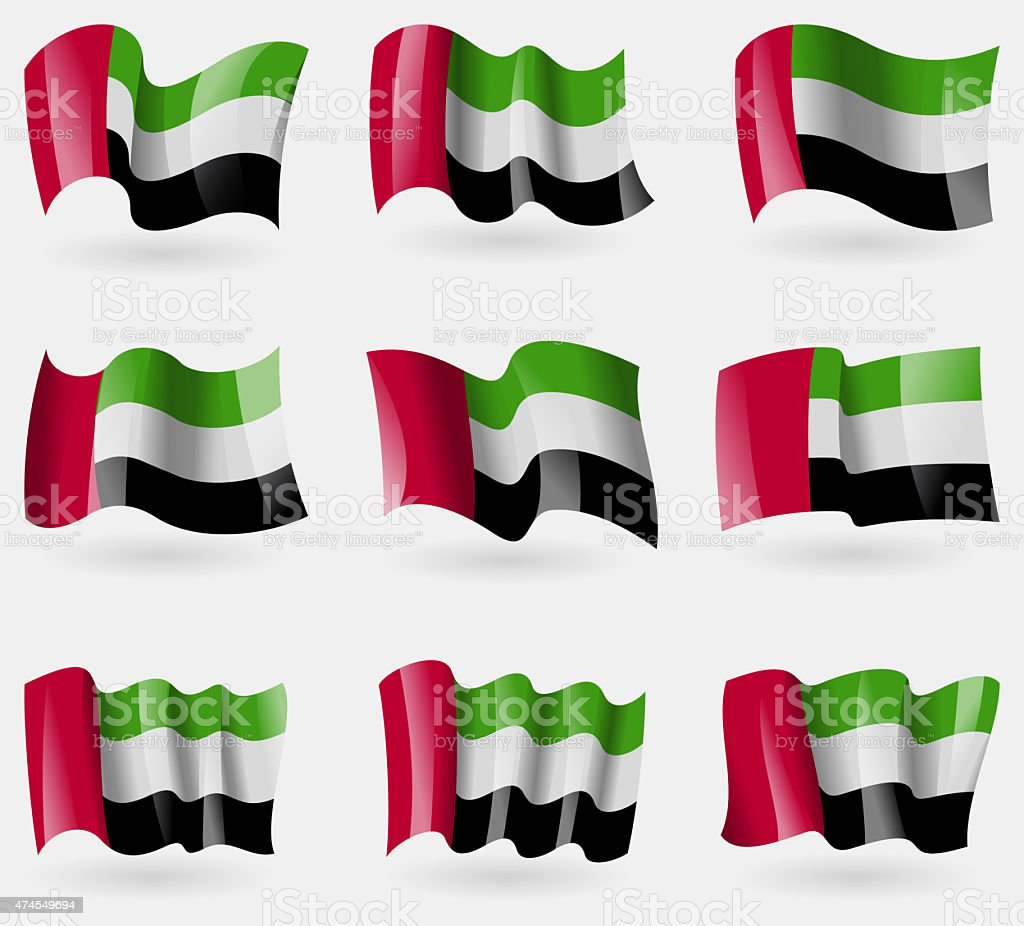 Set of United Arab Emirates flags in the air. stock photo