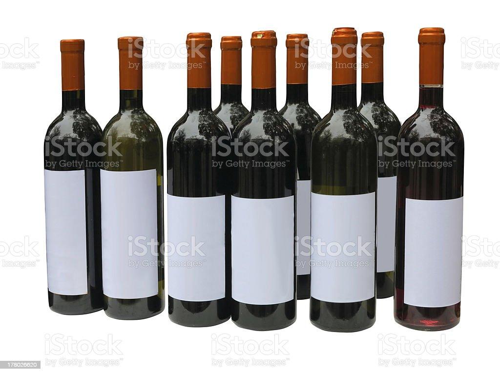 Set of unlabeled wine bottles isolated over white royalty-free stock photo