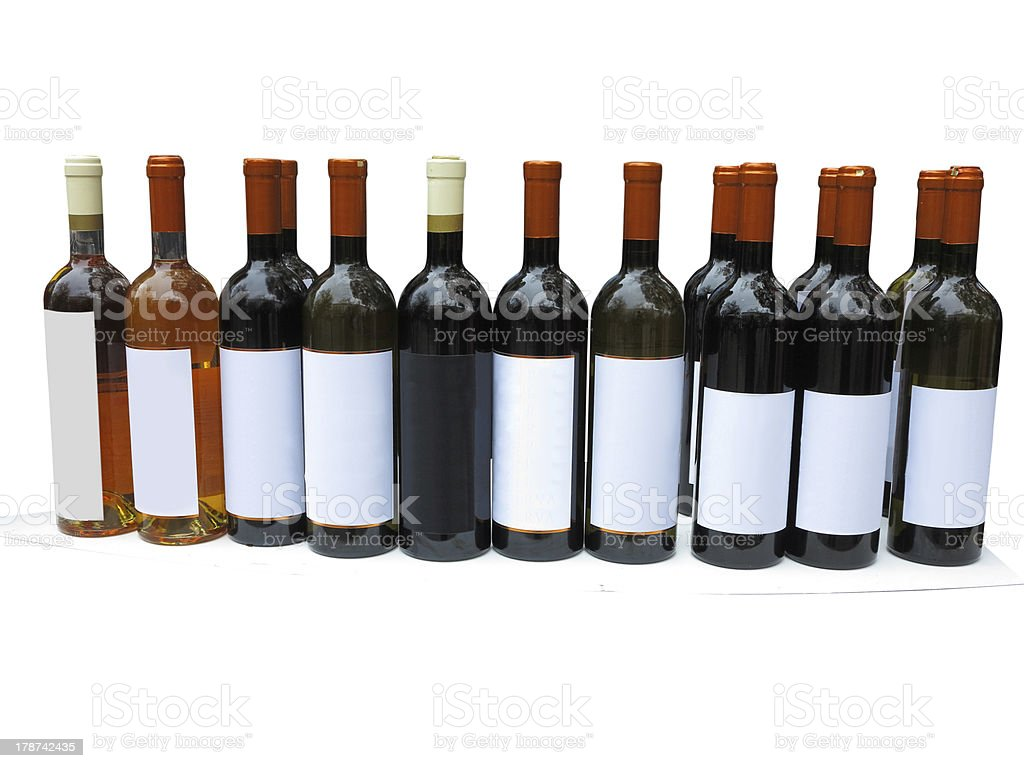 Indefinido conjunto de garrafas de vinho isolado sobre branco foto de stock royalty-free
