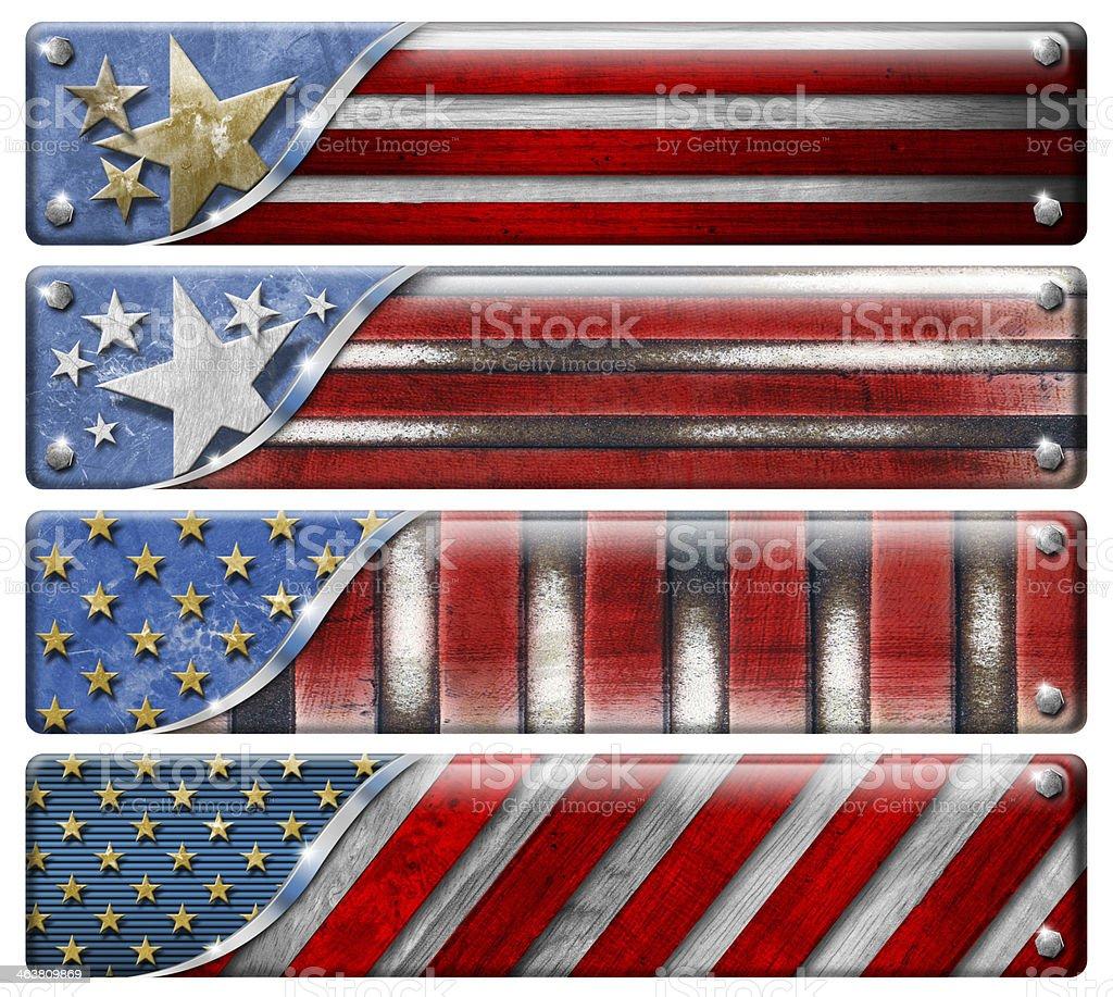 Set of USA Grunge Flags stock photo