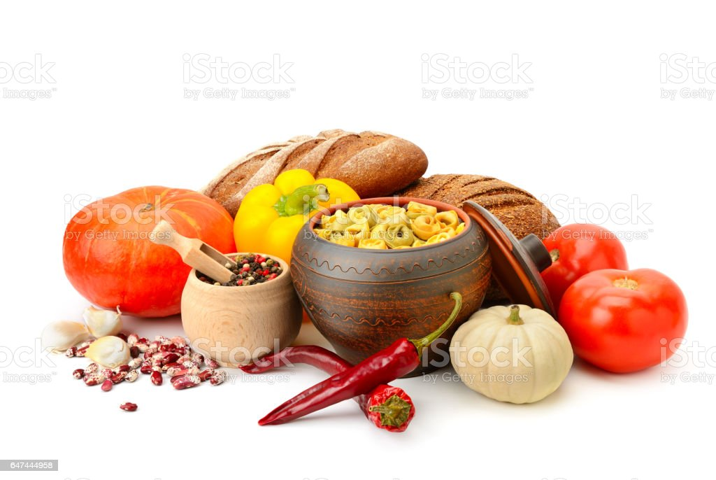 set of useful products (vegetables, spices, ravioli) on white background stock photo