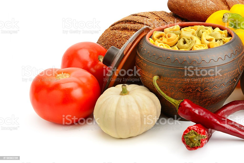 set of useful products (vegetables, spices, ravioli) stock photo