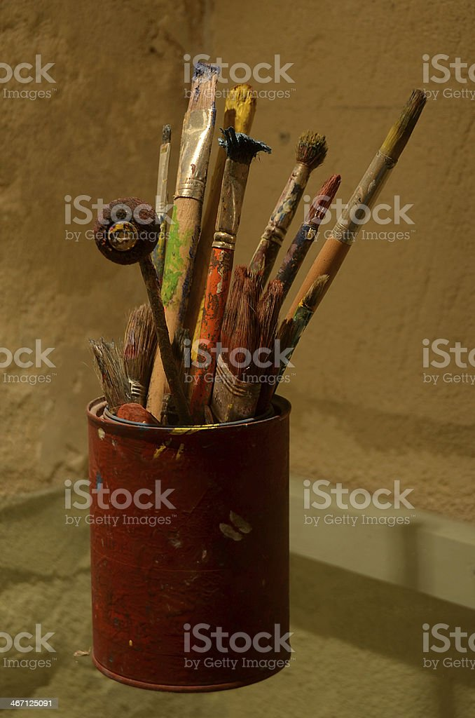 Set of Van Gogh's painting brushes royalty-free stock photo