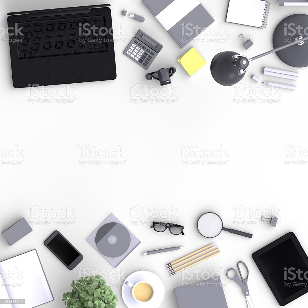 Set of variety blank office objects organized for presentation. stock photo