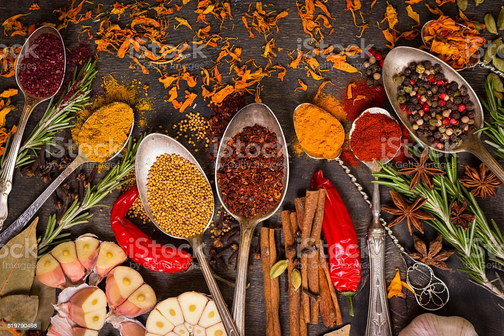 Set of various aromatic colorful spices stock photo