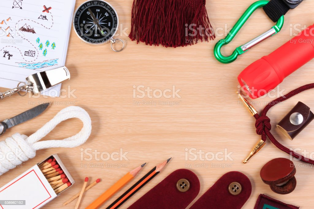 Set of various camping equipment. Boy scout object set. stock photo