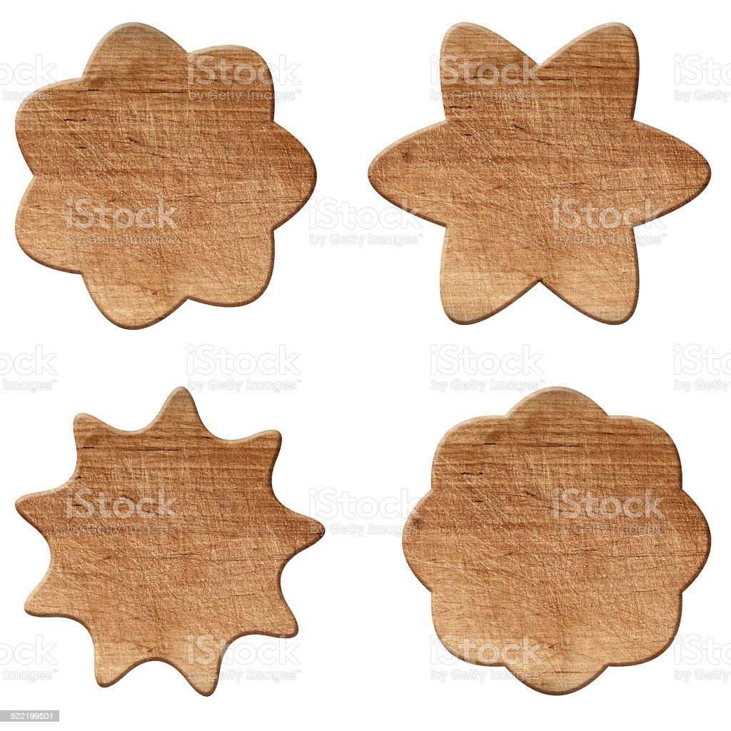 Set of various empty wooden sign or shapes stock photo
