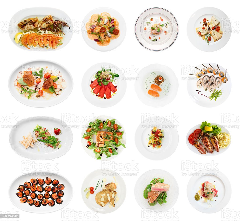 Set of various fish and seafood starters, isolated stock photo