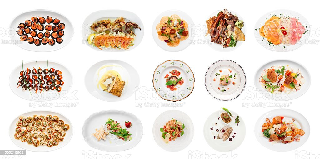 Set of various fish appetizers isolated on white stock photo