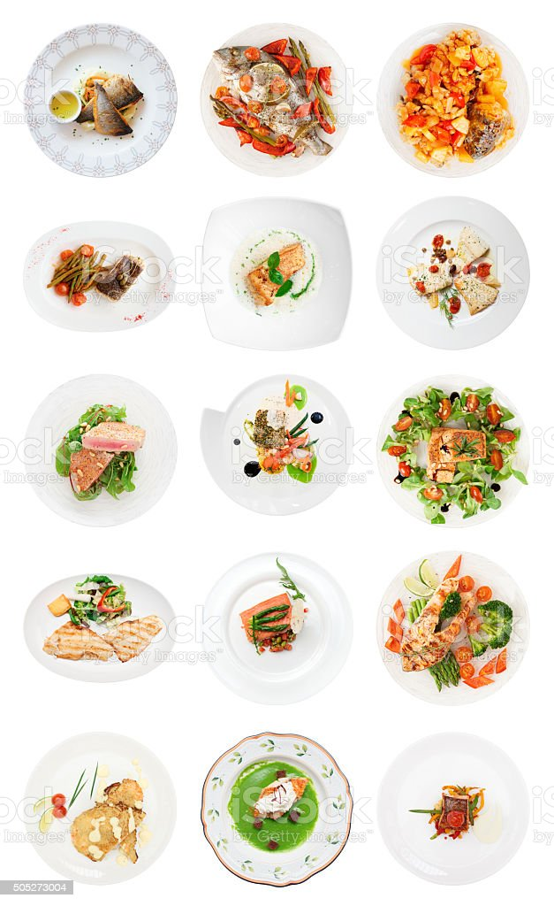 Set of various fish dishes isolated on white stock photo
